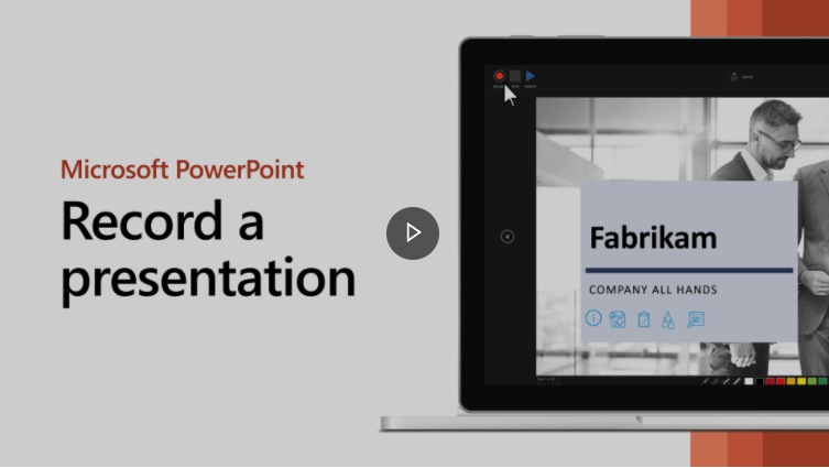 The Presentation Recording window in PowerPoint 2016, with video narration window preview turned on.